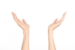 Тема жестов рукой: человеческая рука показывает жесты изолированная на белой предпосылке в студии стоковые фото