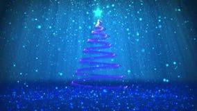 Тема зимы для предпосылки рождества или Нового Года с космосом экземпляра Конец-Вверх дерева Xmas от частиц в средний-рамке бесплатная иллюстрация