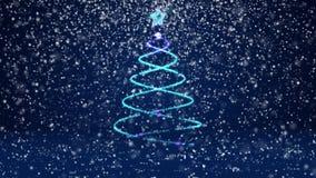 Тема зимы для предпосылки рождества или Нового Года с космосом экземпляра Конец-Вверх дерева Xmas от частиц зарева сияющих внутри иллюстрация штока