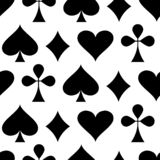 Тема казино играя в азартные игры картина карточки играя безшовные костюмы Костюмы карточки покера - сердца, клубы, лопаты и диам бесплатная иллюстрация