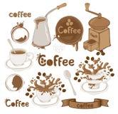 тема комплекта кофе Стоковое фото RF