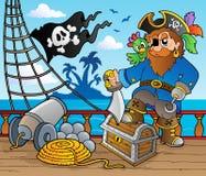 тема корабля пирата 2 палуб Стоковое Изображение RF