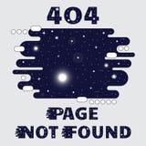 Тема космоса 404 страниц найденная, с солнцем, звездой, галактикой и спутником Иллюстрация вектора Веб-страницы интернета концепц Стоковое фото RF