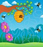 тема лабиринта пчелы иллюстрация вектора