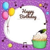 Тема дня рождения с пирожным бесплатная иллюстрация