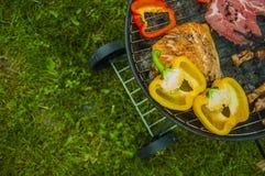 Тема огня и приготовления на гриле с зажаренной едой Стоковые Изображения