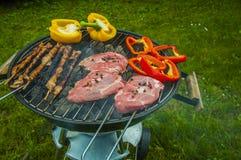 Тема огня и приготовления на гриле с зажаренной едой Стоковое Изображение RF