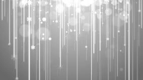 Тема отснятого видеоматериала графиков движения предпосылки анимации рождества белая, с штриховатостью светов, bokeh блестящим и  иллюстрация штока