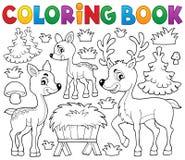 Тема 1 оленей книжка-раскраски Стоковое Фото