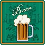 Тема пива в зеленом цвете Стоковая Фотография RF