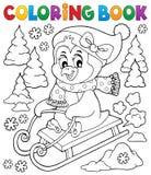 Тема 2 пингвина книжка-раскраски sledging бесплатная иллюстрация