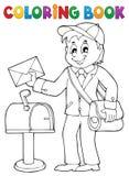Тема 1 почтальона книжка-раскраски Стоковые Фотографии RF