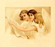 Тема рождества ретро ангелы Стоковые Изображения
