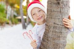 Тема рождества на пляже Стоковые Изображения