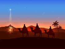Тема рождества с 3 мудрецами и сияющей звездой иллюстрация штока