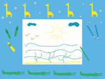 Тема сафари иллюстрации вектора чертежа детей настольного компьютера младенца Стоковая Фотография RF
