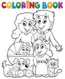 Тема семьи книжка-раскраски Стоковое фото RF