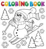 Тема 1 снеговика катания на лыжах книжка-раскраски Стоковая Фотография RF