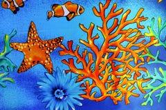 Тема ткани предпосылки кораллов моря Стоковое фото RF