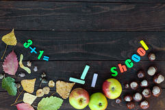 Тема школы Листья осени, каштаны и зрелые яблоки на темной деревянной предпосылке На месте для вашего объекта Стоковое Изображение