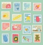 тема штемпелей почтоваи оплата младенца Стоковые Изображения RF