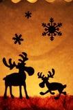 тема 2 северного оленя рождества Стоковые Фотографии RF