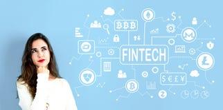 Тема Cryptocurrency Fintech с молодой женщиной стоковое изображение