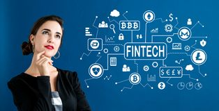 Тема fintech Cryptocurrency с бизнес-леди стоковое изображение rf