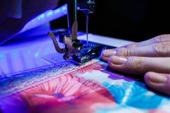Тема needlework, шить, dressmaking, швейная машина Стоковые Изображения
