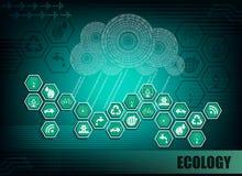 Темная ая-зелен предпосылка с символами экологичности Стоковое Изображение