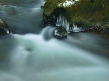 Темная ая-зелен холодная вода потока горы в зиме Стоковая Фотография RF