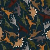 Темная безшовная картина с динозаврами Стоковое Фото