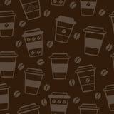 Темная безшовная картина с кофейными чашками Бесплатная Иллюстрация