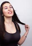 темная волос женщина длиной чувственная сексуальная стоковое фото rf
