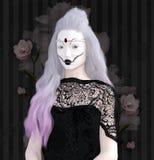 Темная дама с бледной кожей и страшным макияжем иллюстрация вектора