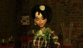 темная девушка с волосами стоковое фото
