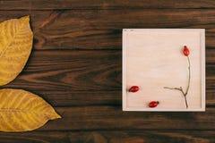 Темная деревянная коробка с предпосылкой и украшениями Стоковая Фотография