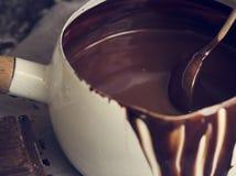 Темная идея рецепта фотографии еды соуса шоколада стоковые изображения
