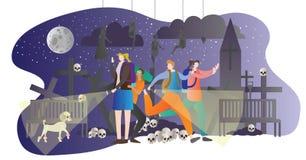 Темная иллюстрация вектора туризма Люди собирают в погост ночи с электрофонарями, церковью, черепом, косточками и мертвым висеть  иллюстрация штока