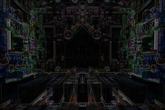 Темная компьютерная микросхема микроэлектроники Стоковые Фотографии RF