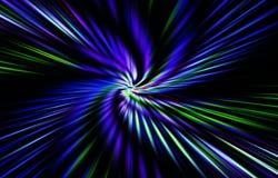Темная предпосылка Волнистые голубые, зеленые и белые нашивки цветов расходятся от середины к краям Стоковое Фото