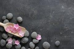 Темная предпосылка курорта с камешками и цветками Стоковое Фото