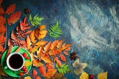 Темная предпосылка осени с чашкой кофе и листьями осени Стоковое фото RF