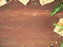 Темная предпосылка с печеньями розмаринового масла Стоковая Фотография