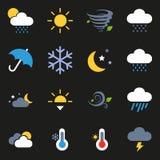 Темная серия погода иконы установленная Стоковые Изображения RF