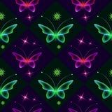 Темная сияющая предпосылка с бабочками и звездами Стоковые Изображения