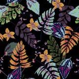 Темная тропическая картина с экзотическими лесом и листьями, морем вектора Стоковое фото RF