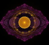 Темная фиолетовая и золотая мандала фрактали на черной предпосылке Стоковые Фото