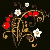 темная флористическая картина иллюстрация вектора