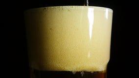 Темное пиво лить в холодное стекло на черной предпосылке конец вверх движение медленное сток-видео